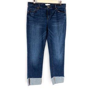 LOFT Modern Straight Cuffed Jeans Size 30